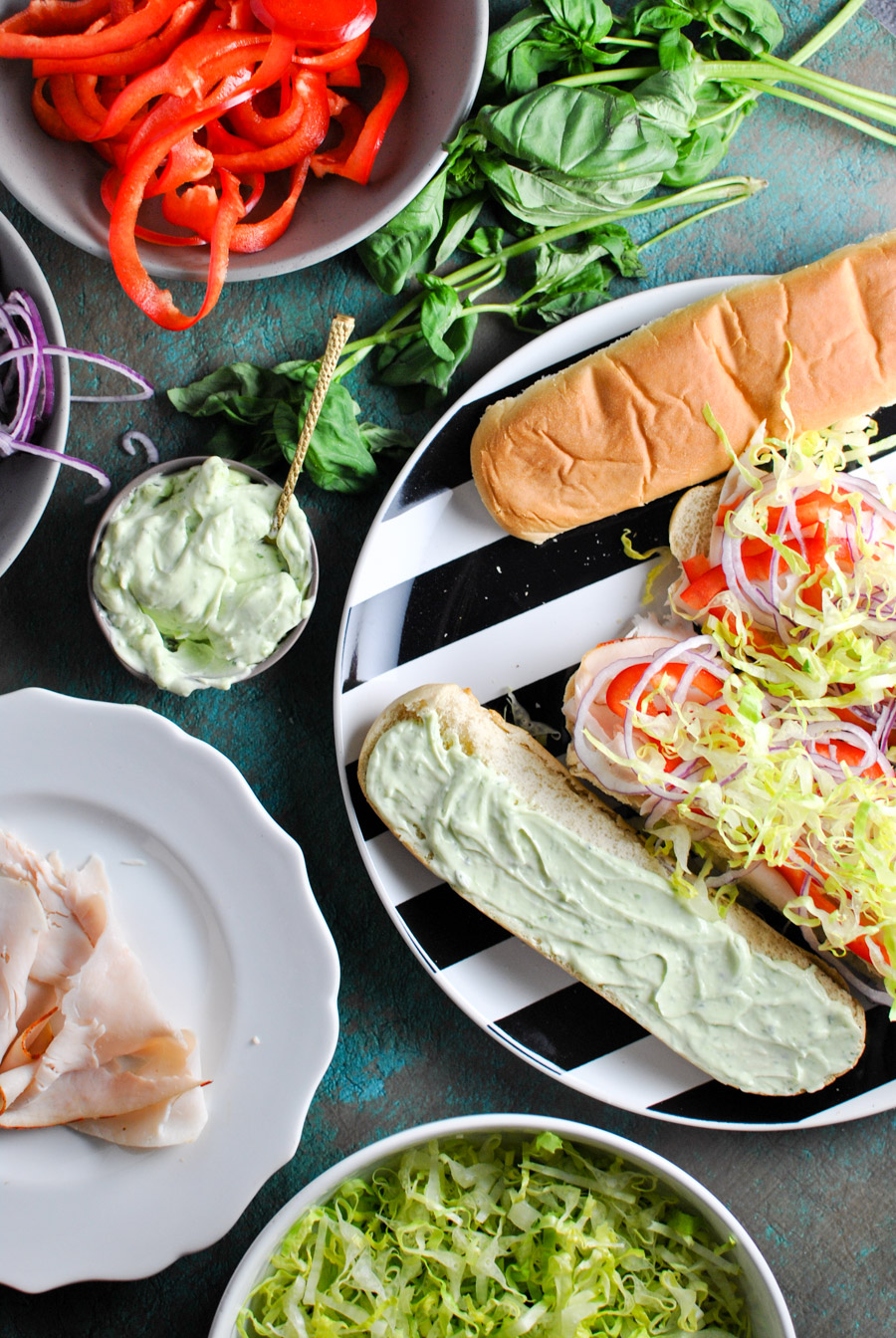 this recipe for basil mayo turkey sandwiches is like a cool bite of southern california. they're perfect for a quick and easy lunch; plus, they're easily converted into a salad to be whole30 compliant! | thepikeplacekitchen.com