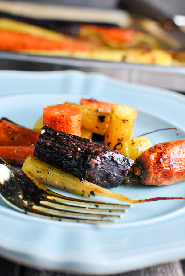 whole30 roasted rainbow carrots! we love this recipe because they get a little bit sweet and caramel-y and wonderful | thepikeplacekitchen.com